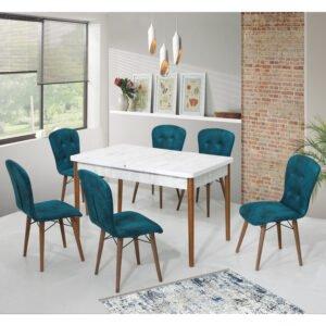 Set Masa Extensibila Elegant cu 6 scaune turcoise 170x80cm
