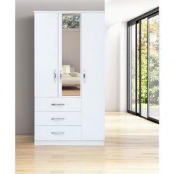 Dulap Meissa Modella cu 3 uși cu 3 sertare cu oglindă – alb