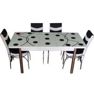 Set Masa Extensibila cu 4 scaune, Elt 03,negru,masa ext.170x80cm