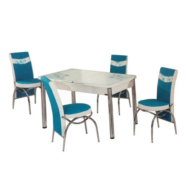Set Masa Extensibila cu 4 scaune,turquaz masa extensibila.170x80cm