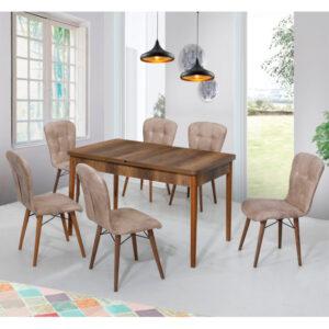 Set Masa Extensibila Elegant bej, cu 6 scaune, masa