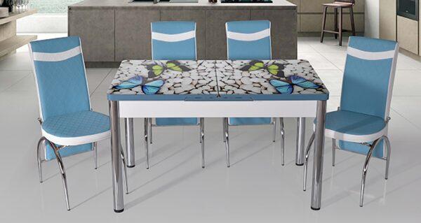 Set masa blat sticla+6 scaune Butterfly blue