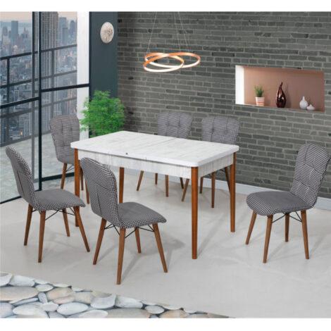 Set Masa Extensibila cu 6 scaune,Elegant alb/negru,