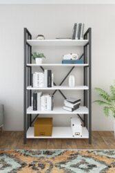 Biblioteca metal&wood İNCİ alb