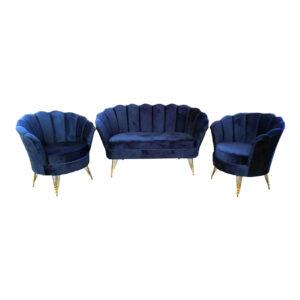 Set Canapea cu doua Fotolii pentru cafea Queen 2+1+1 Modela, albastru